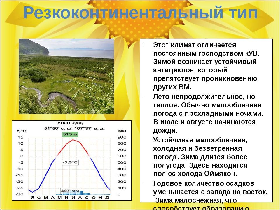 Резкоконтинентальный тип Этот климат отличается постоянным господством кУВ. З...