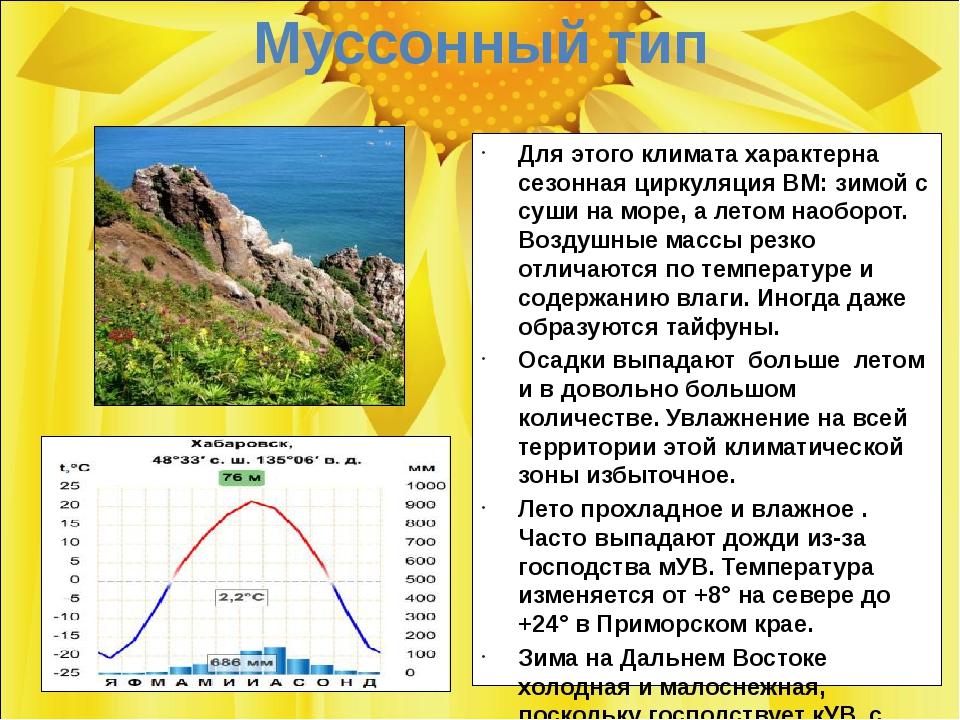Муссонный тип Для этого климата характерна сезонная циркуляция ВМ: зимой с су...