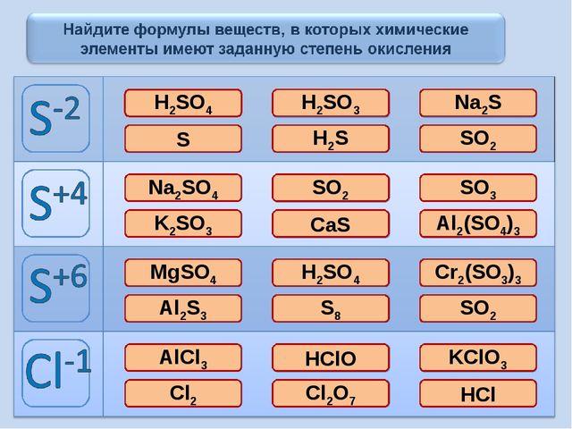 H2SO4 H2SO3 Na2S S H2S SO2 Na2SO4 SO2 SO3 K2SO3 CaS Al2(SO4)3 MgSO4 H2SO4 Cr2...