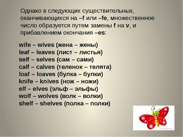 Однако в следующих существительных, оканчивающихся на–fили–fe, множественн...