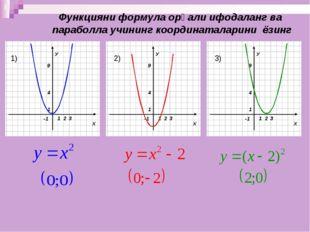 Функцияни формула орқали ифодаланг ва параболла учининг координаталарини ёзин