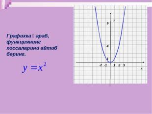 Х У 1 1 -2 2 3 -1 Графикка қараб, функциянинг хоссаларини айтиб беринг. 9 4
