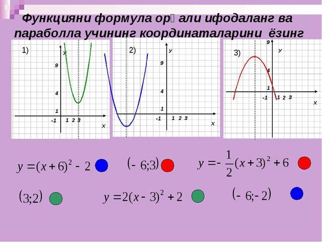 У Функцияни формула орқали ифодаланг ва параболла учининг координаталарини ёз...