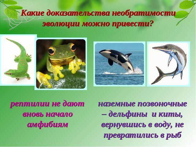 Какие доказательства необратимости эволюции можно привести? рептилии не дают...