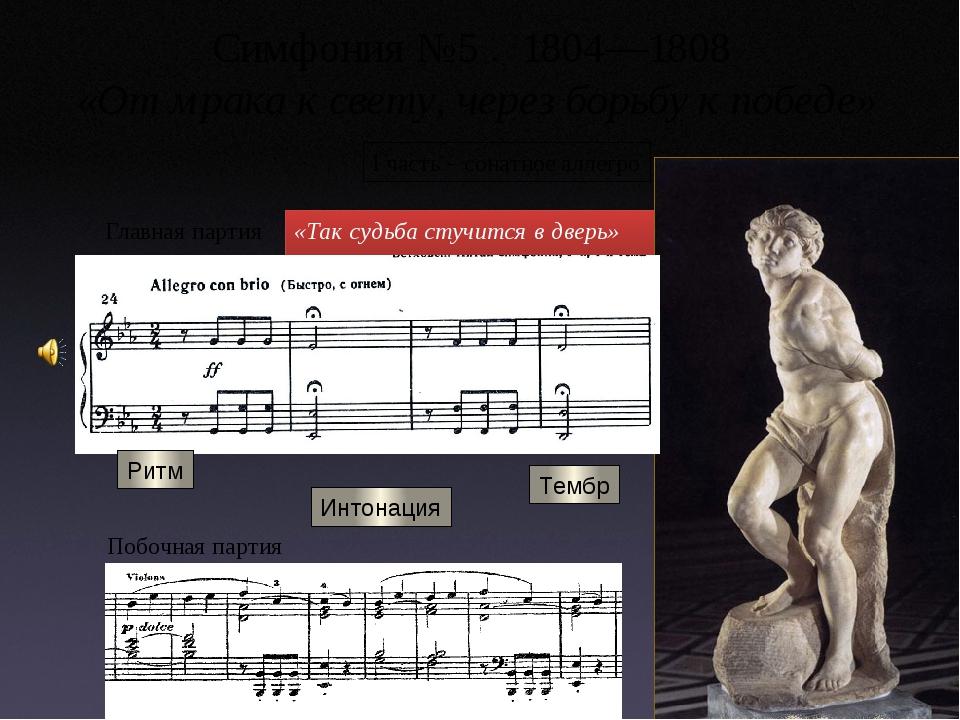 Симфония №5 . 1804—1808 «От мрака к свету, через борьбу к победе» «Так судьба...