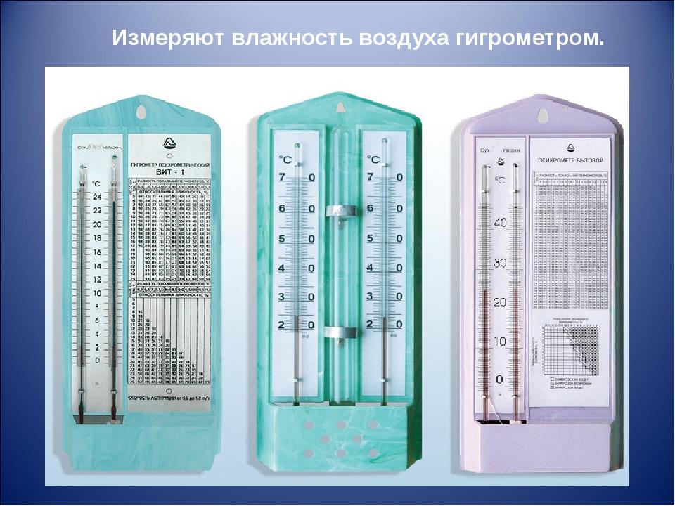 Измеряют влажность воздуха гигрометром.