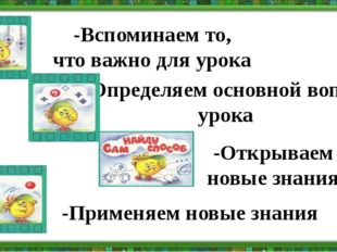 -Вспоминаем то, что важно для урока -Открываем новые знания -Определяем основ
