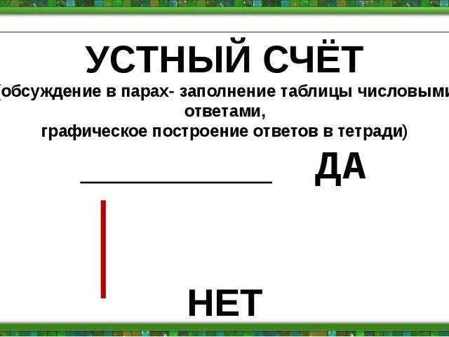 УСТНЫЙ СЧЁТ (обсуждение в парах- заполнение таблицы числовыми ответами, графи...
