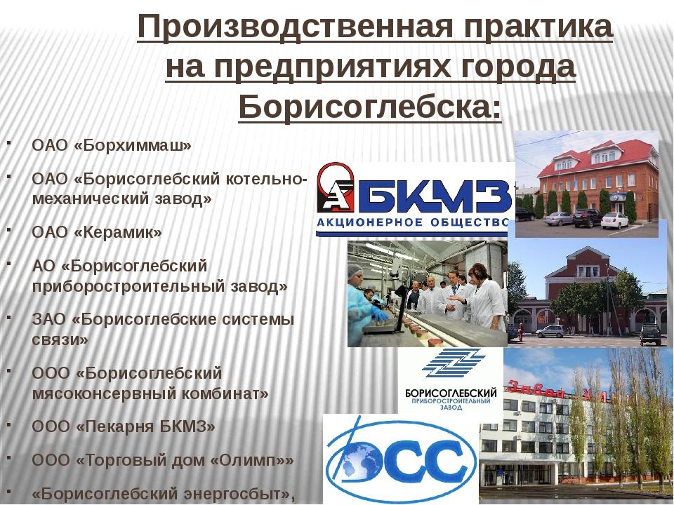 Производственная практика на предприятиях города Борисоглебска: ОАО «Борхимм...