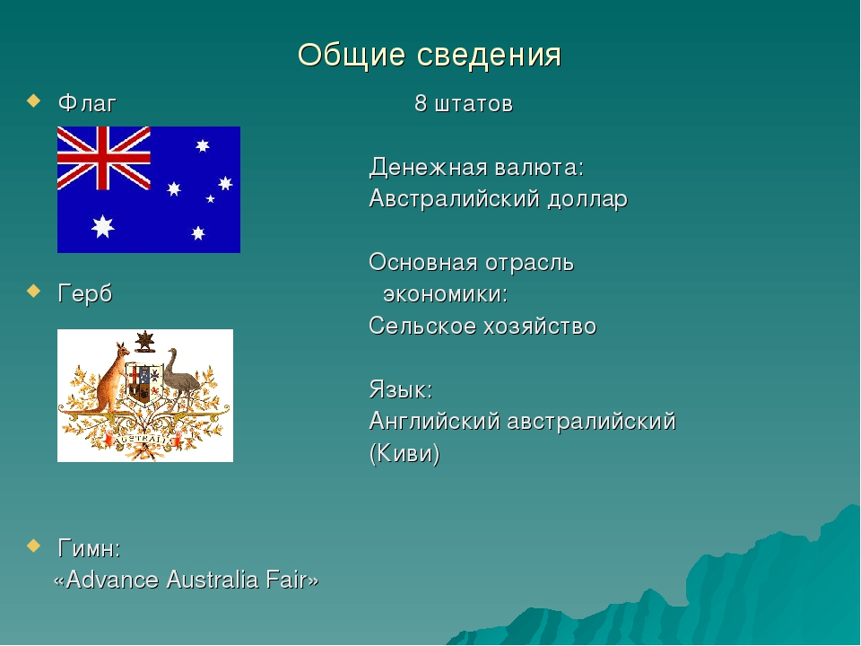 Общие сведения Флаг 8 штатов Денежная валюта: Австралийский доллар Основная о...