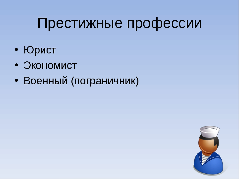 Престижные профессии Юрист Экономист Военный (пограничник)