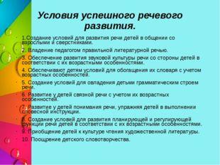 Условия успешного речевого развития. 1.Создание условий для развития речи дет