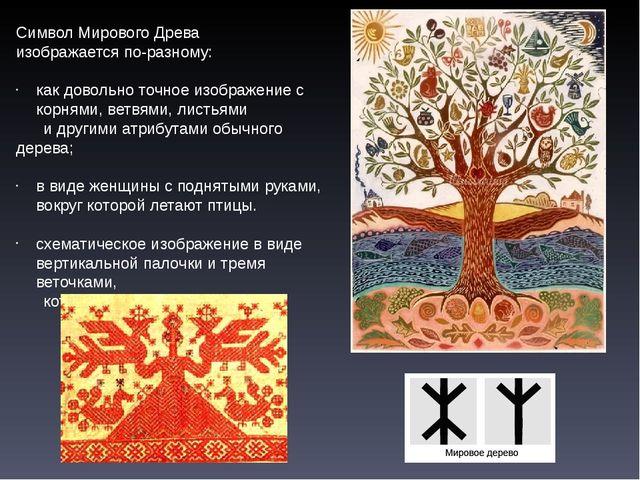 Символ Мирового Древа изображается по-разному: как довольно точное изображени...