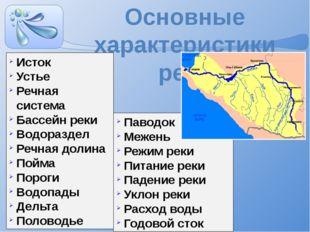 Основные характеристики реки Исток Устье Речная система Бассейн реки Водоразд
