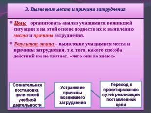 3. Выявление места и причины затруднения Цель: организовать анализ учащимися