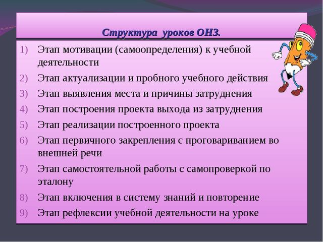 Структура уроков ОНЗ. Этап мотивации (самоопределения) к учебной деятельности...