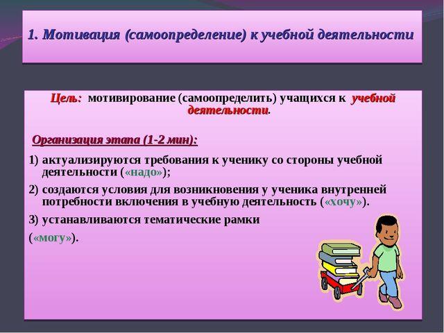 1. Мотивация (самоопределение) к учебной деятельности Цель: мотивирование (с...