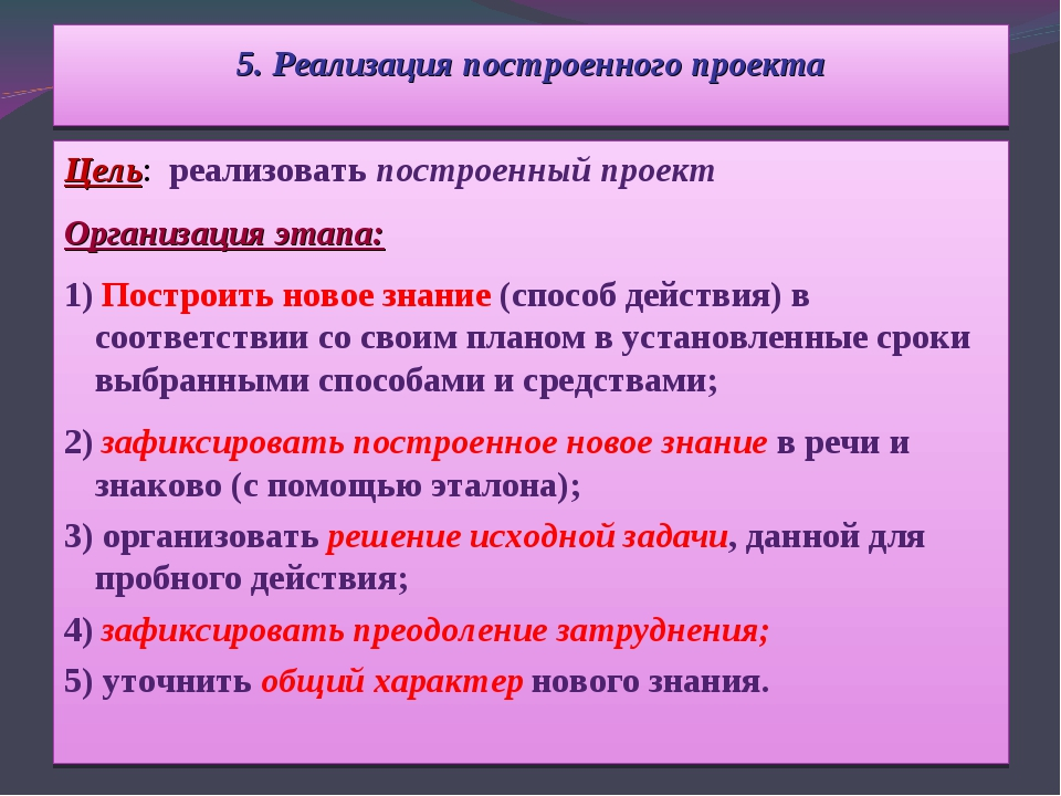 5. Реализация построенного проекта Цель: реализовать построенный проект Орган...