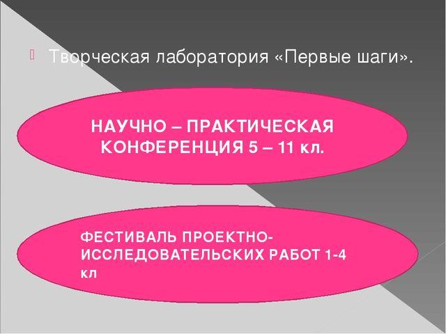 Творческая лаборатория «Первые шаги». НАУЧНО – ПРАКТИЧЕСКАЯ КОНФЕРЕНЦИЯ 5 –...