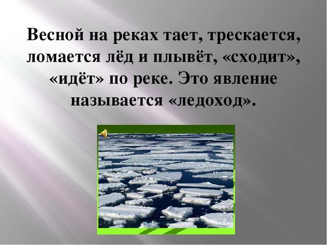 Весной на реках тает, трескается, ломается лёд и плывёт, «сходит», «идёт» по...