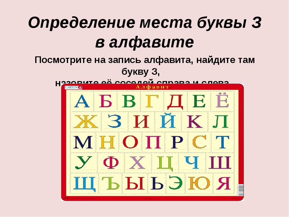 Определение места буквы З  в алфавите