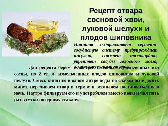 Рецепт отвара сосновой хвои, луковой шелухи и плодов шиповника Напиток оздора...