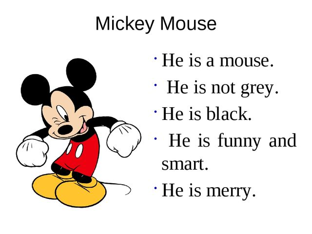 Mickey Mouse He is a mouse. He is not grey. He is black. He is funny and smar...