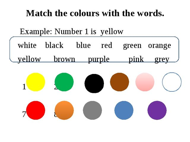 Match the colours with the words. Example: Number 1 is yellow white black bl...