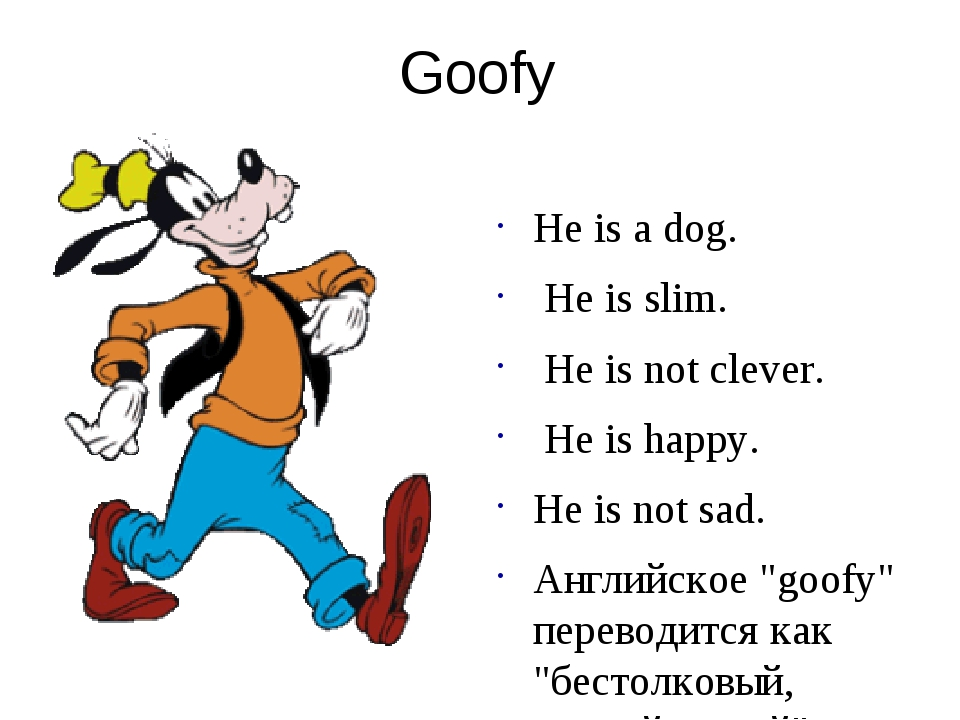 Goofy He is a dog. He is slim. He is not clever. He is happy. He is not sad....
