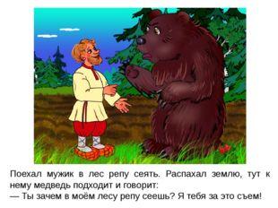 Поехал мужик в лес репу сеять. Распахал землю, тут к нему медведь подходит и
