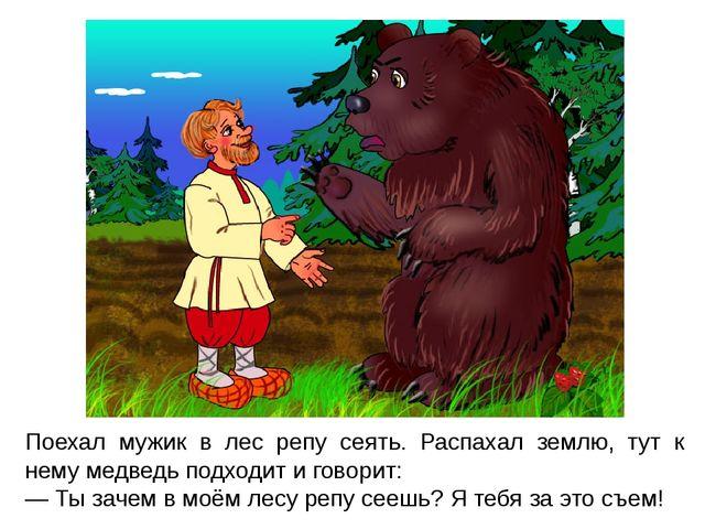 Поехал мужик в лес репу сеять. Распахал землю, тут к нему медведь подходит и...