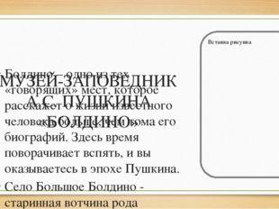 МУЗЕЙ-ЗАПОВЕДНИК А.С. ПУШКИНА «БОЛДИНО» Болдино – одно из тех «говорящих» ме