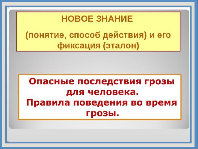 НОВОЕ ЗНАНИЕ (понятие, способ действия) и его фиксация (эталон)