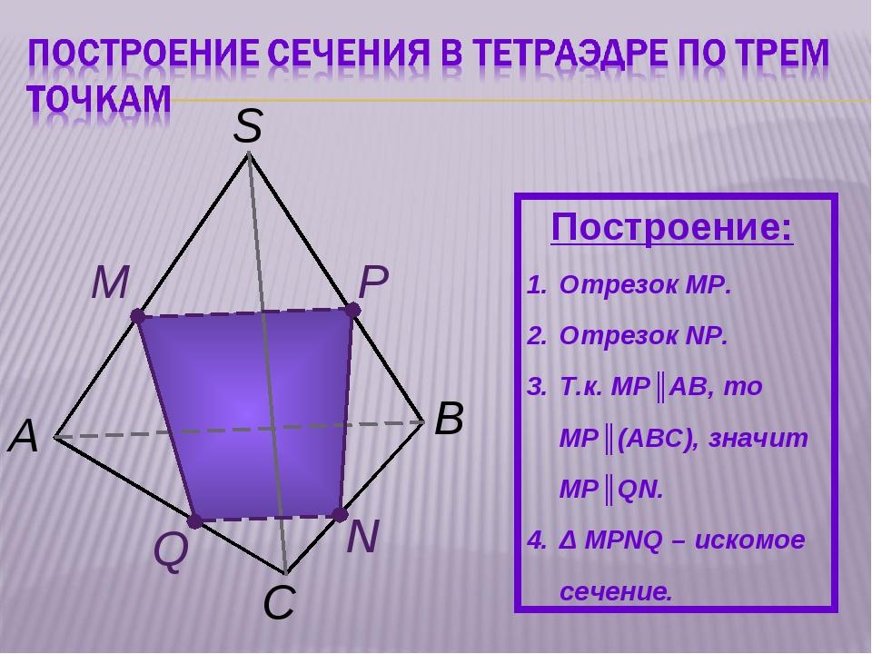 C А M N P B S Построение: Отрезок MP. Отрезок NР. Т.к. MР║AB, то MР║(АВС), зн...