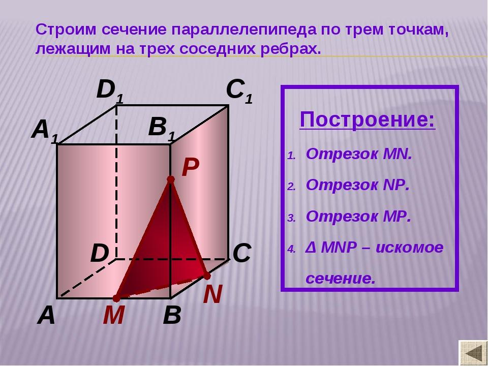 N М P A B C D A1 B1 C1 D1 Строим сечение параллелепипеда по трем точкам, лежа...