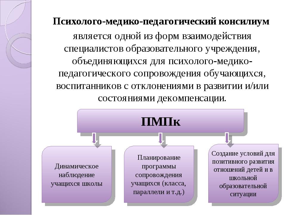 Психолого-медико-педагогический консилиум является одной из форм взаимодейств...