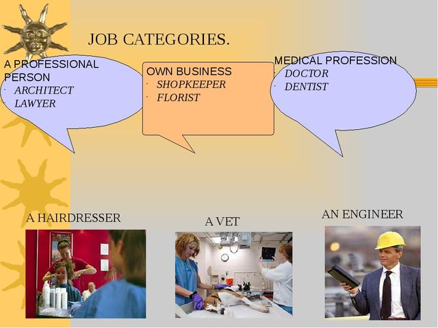 JOB CATEGORIES. A PROFESSIONAL PERSON ARCHITECT LAWYER OWN BUSINESS SHOPKEEPE...