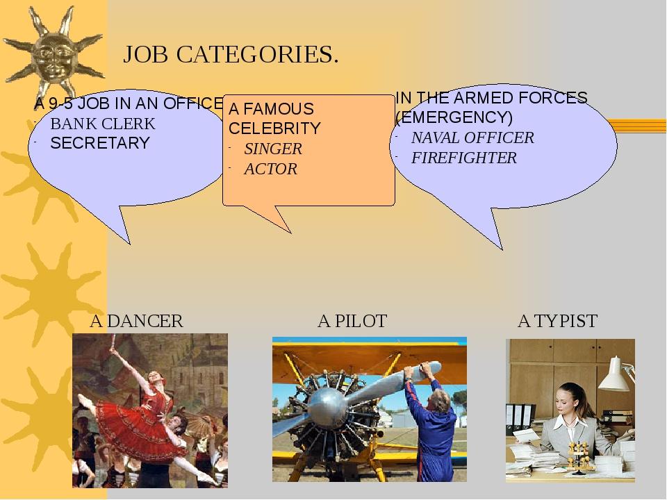 JOB CATEGORIES. A 9-5 JOB IN AN OFFICE BANK CLERK SECRETARY A FAMOUS CELEBRIT...