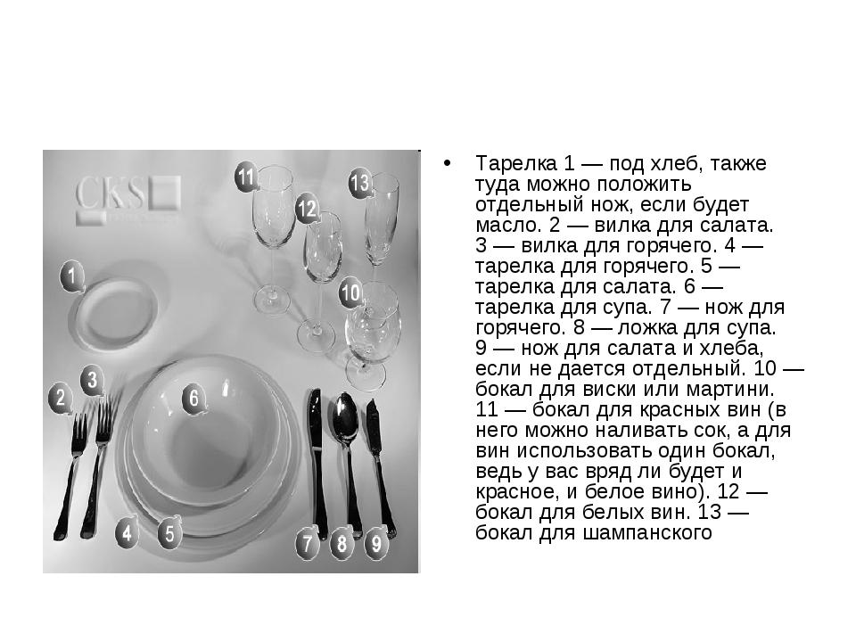 Тарелка 1— под хлеб, также туда можно положить отдельный нож, если будет мас...