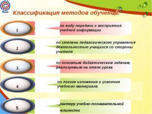 Классификация методов обучения. по виду передачи и восприятия учебной информ