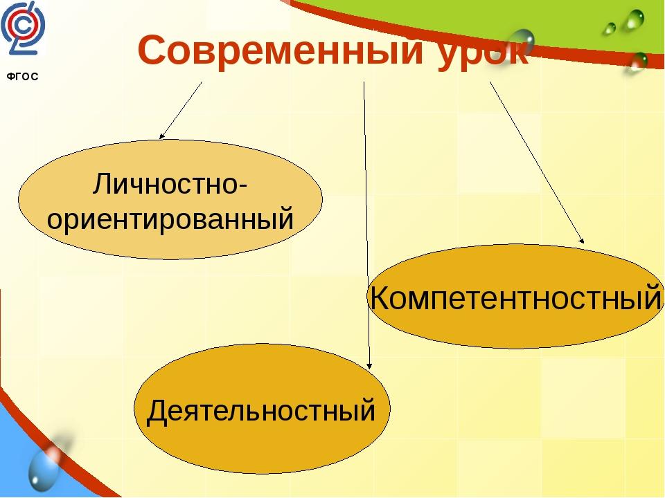 Современный урок Личностно- ориентированный Компетентностный Деятельностный Ф...