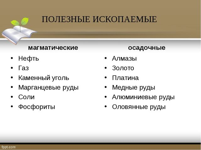 ПОЛЕЗНЫЕ ИСКОПАЕМЫЕ магматические Нефть Газ Каменный уголь Марганцевые руды С...