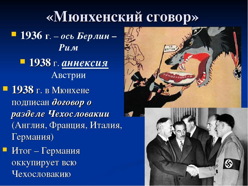 «Мюнхенский сговор» 1936 г. – ось Берлин –Рим 1938 г. аннексия Австрии 1938 г...