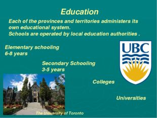 Education Each of the provinces and territories administers its own education