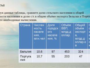 Вопрос №8 Используя данные таблицы, сравните долю сельского населения в обще