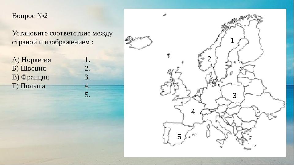 Вопрос №2 Установите соответствие между страной и изображением : А) Норвегия...