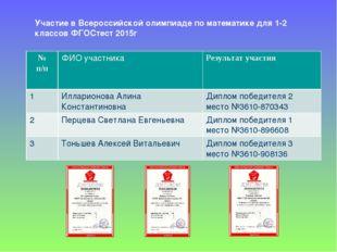 Участие в Всероссийской олимпиаде по математике для 1-2 классов ФГОСтест 2015