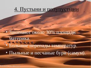 4. Пустыни и полупустыни Занимают около 30% площади материка. Большие перепад