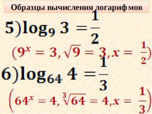 Образцы вычисления логарифмов