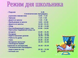 - Подъем 6.45 -Гигиенические процедуры, утренняя гимнастика 6.45 – 7.10 -